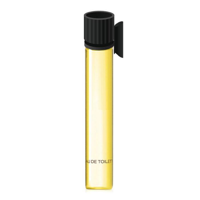 黄色い香水が細いガラスの管に入っている、トップは黒色